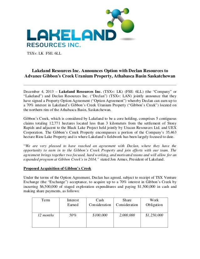 News Release: Lakeland Resources Inc. (TSXv: LK) Announces Option with Declan Resources to Advance Gibbon's Creek Uranium Property, Athabasca Basin Saskatchewan