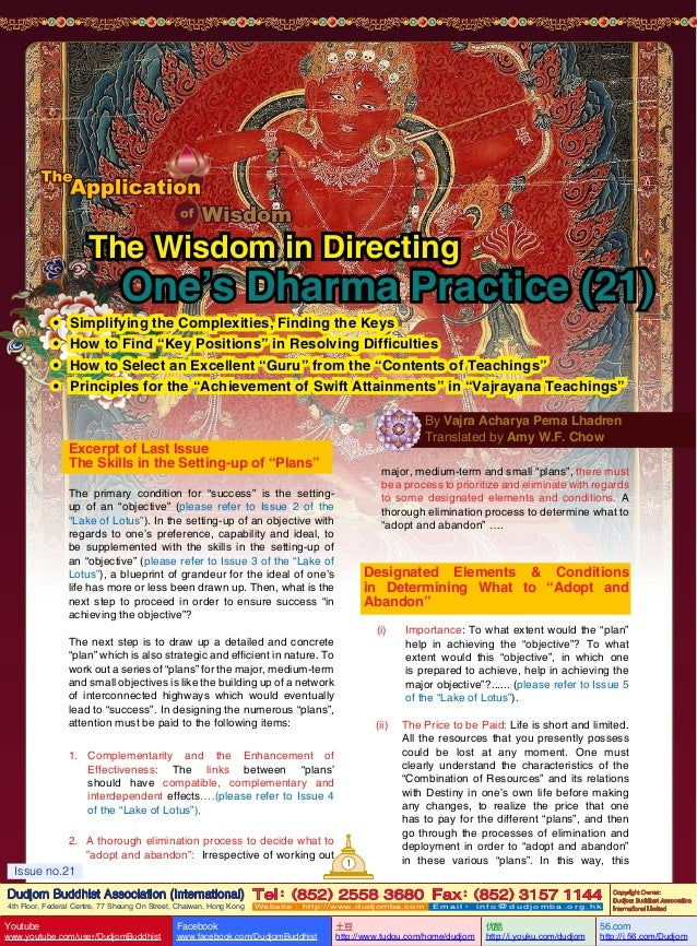 Lake of lotus (21) the application of wisdom-the wisdom in directing one's dharma practice (21)-by vajra master pema lhadren-dudjom buddhist association