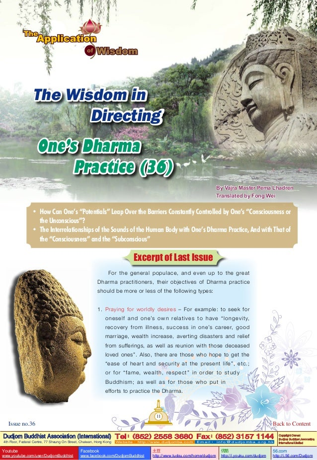 Lake of lotus (36) the application of wisdom-the wisdom in directing one's dharma practice (36)-by vajra master pema lhadren-dudjom buddhist association