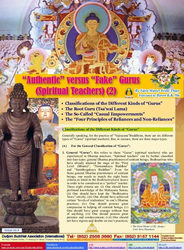 """Authentic"" versus ""Fake"" Gurus (Spiritual Teachers) (2)  By Vajra Master Yeshe Thaye Translated by Byron K.K. Yiu  • • • ..."