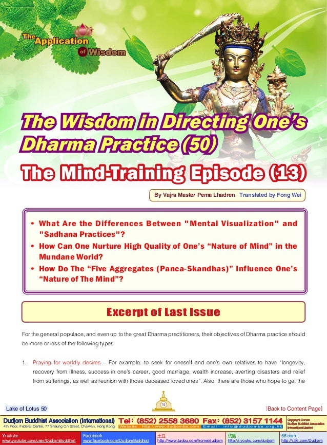 Lake of lotus (50) the application of wisdom-the wisdom in directing one's dharma practice (50)-by vajra master pema lhadren-dudjom buddhist association