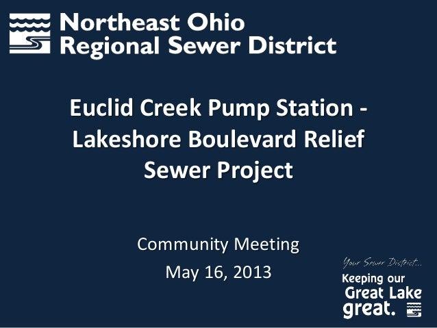 Euclid Creek Pump Station -Lakeshore Boulevard ReliefSewer ProjectCommunity MeetingMay 16, 2013
