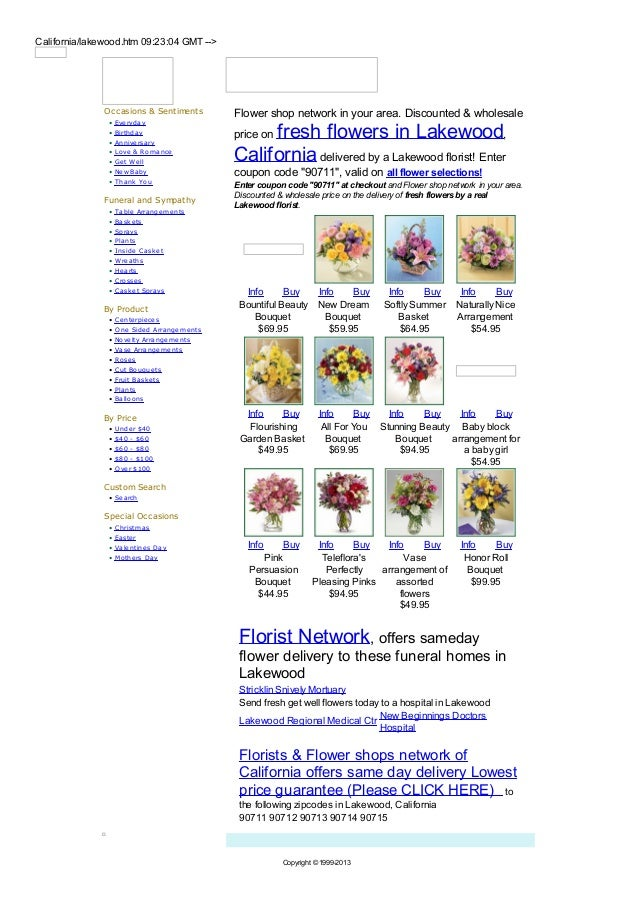 California/lakewood.htm 09:23:04 GMT -->               Occasions & Sentiments          Flower shop network in your area. D...