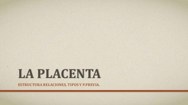 LA PLACENTA ESTRUCTURA RELACIONES, TIPOS Y P.PREVIA.