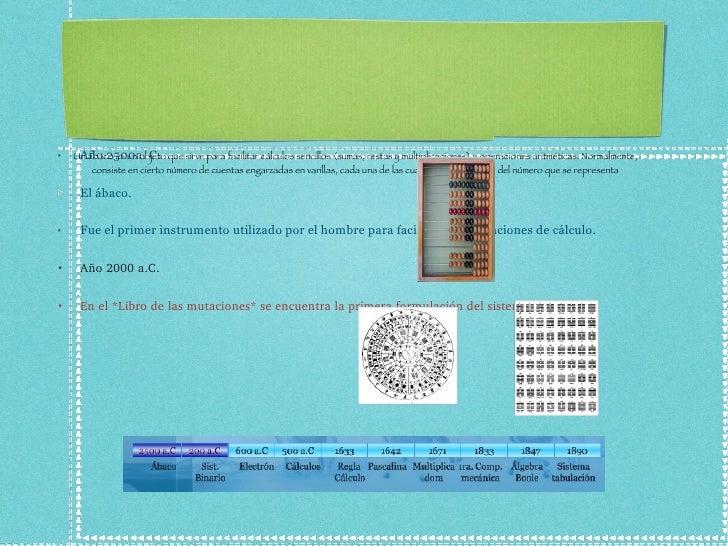 ** Historia de la Computación..!! n...!!       Un ábaco es un objeto que sirve para facilitar cálculos sencillos (sumas, r...