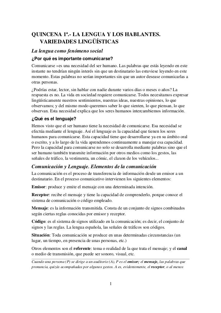 QUINCENA1ª.LALENGUAYLOSHABLANTES.  VARIEDADESLINGÜÍSTICASLalenguacomofenómenosocial¿Por qué es importante com...