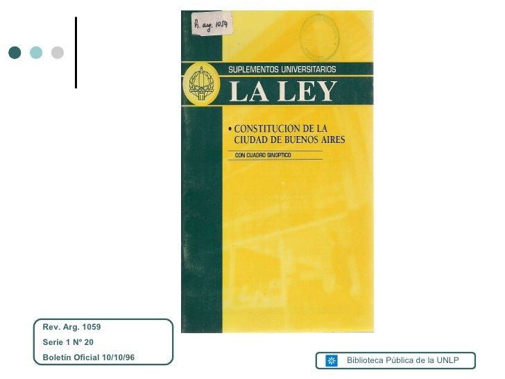 Rev. Arg. 1059 Serie 1 Nº 20 Boletín Oficial 10/10/96 Biblioteca Pública de la UNLP