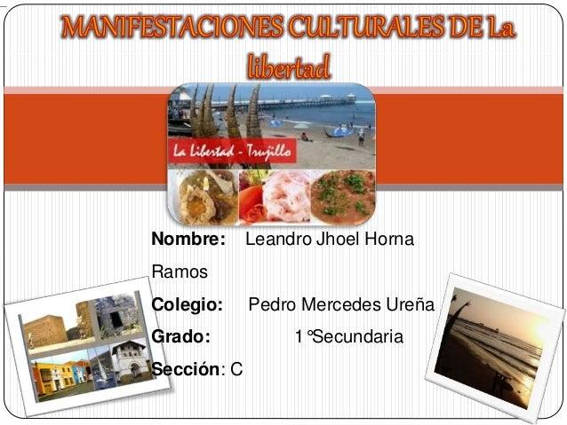 Nombre: Leandro Jhoel Horna Ramos Colegio: Pedro Mercedes Ureña Grado: 1°Secundaria Sección: C