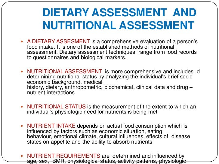 how to write a dietary assessmnent