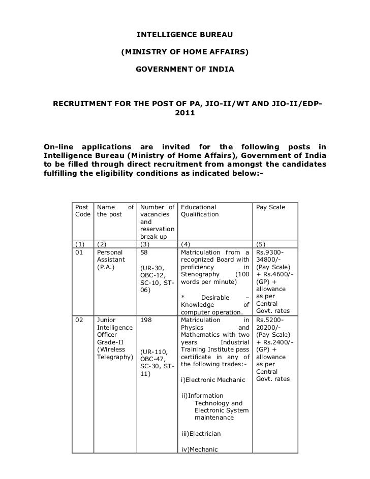 INTELLIGENCE BUREAU                     (MINISTRY OF HOME AFFAIRS)                             GOVERNMENT OF INDIA  RECRUI...