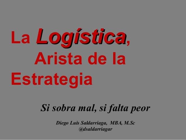 La Logística, Arista de la Estrategia Si sobra mal, si falta peor Diego Luis Saldarriaga, MBA, M.Sc @dsaldarriagar