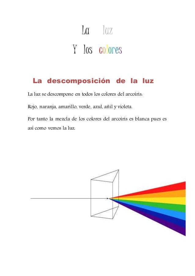 La luz Y los colores La descomposición de la luz La luz se descompone en todos los colores del arcoíris: Rojo, naranja, am...