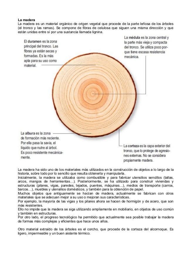 La madera La madera es un material orgánico de origen vegetal que procede de la parte leñosa de los árboles (el tronco y l...