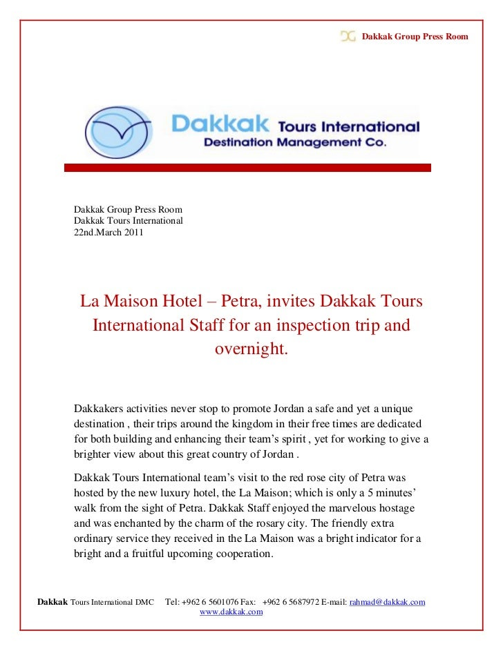 Dakkak Group Press Room         Dakkak Group Press Room         Dakkak Tours International         22nd.March 2011        ...