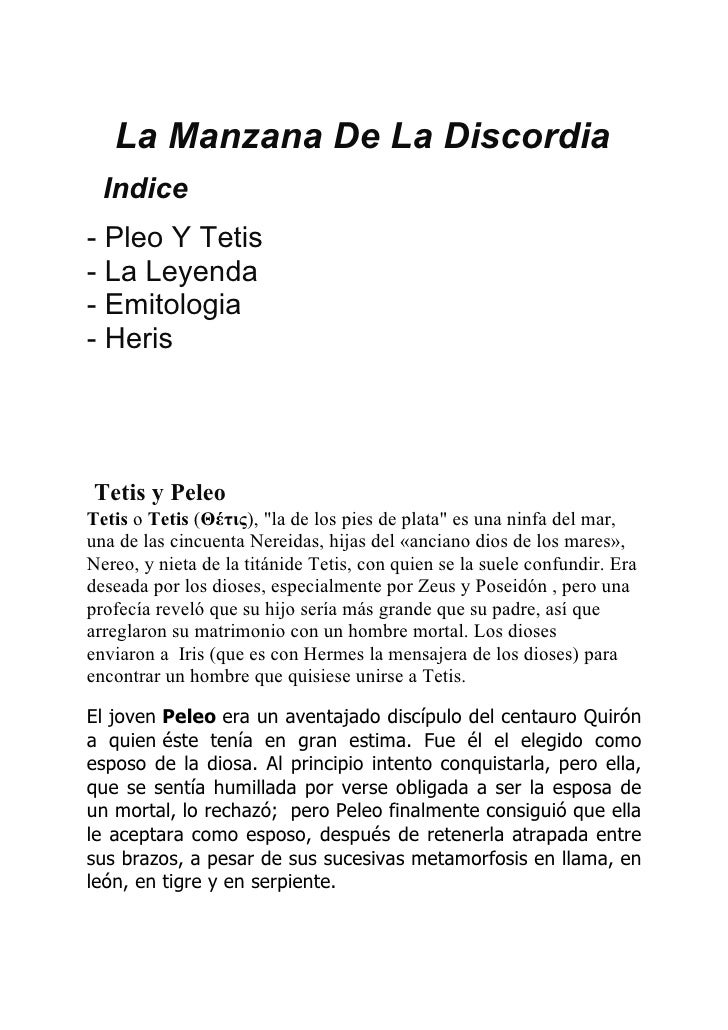 """La Manzana De La Discordia  Indice- Pleo Y Tetis- La Leyenda- Emitologia- HerisTetis y PeleoTetis o Tetis (Θέτις), """"la de ..."""