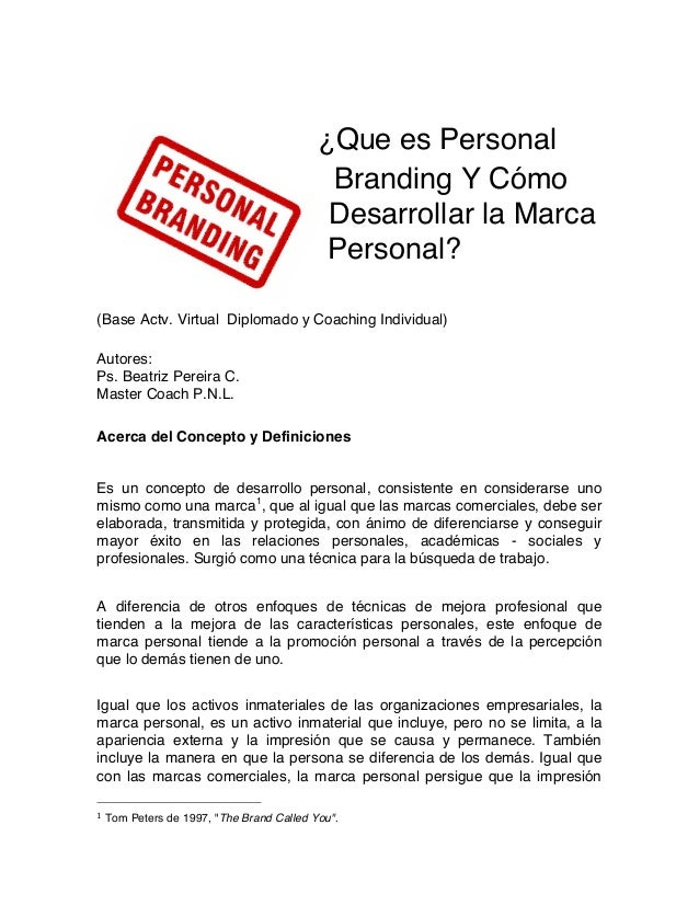 ¿Que es Personal Branding Y Cómo Desarrollar la Marca Personal? (Base Actv. Virtual Diplomado y Coaching Individual) Autor...
