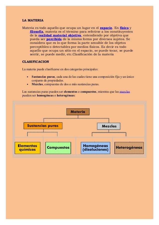 LA MATERIAMateria es todo aquello que ocupa un lugar en el espacio. En física y    filosofía, materia es el término para r...