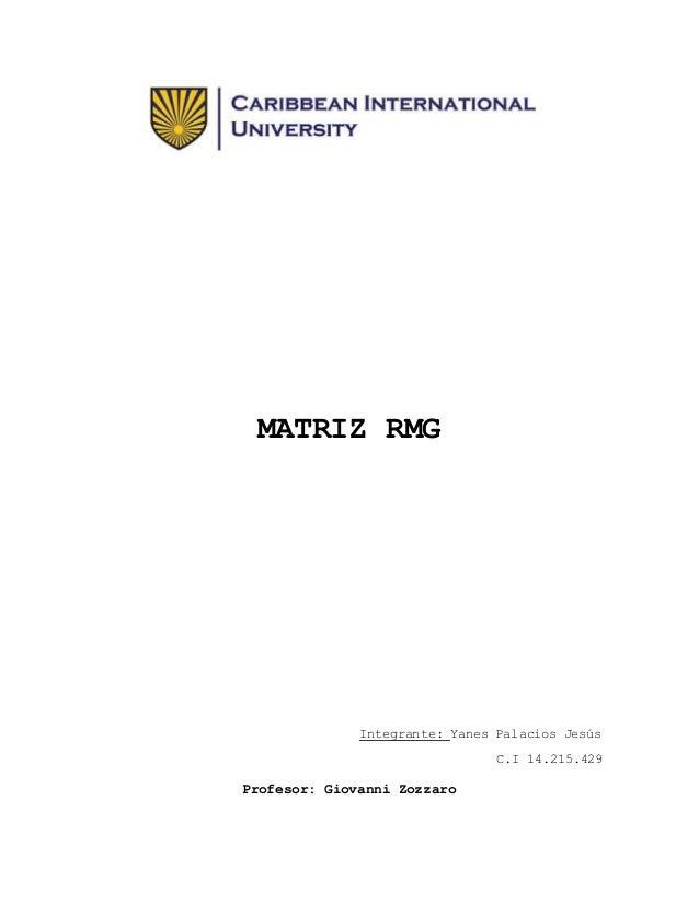 MATRIZ RMG Integrante: Yanes Palacios Jesús C.I 14.215.429 Profesor: Giovanni Zozzaro