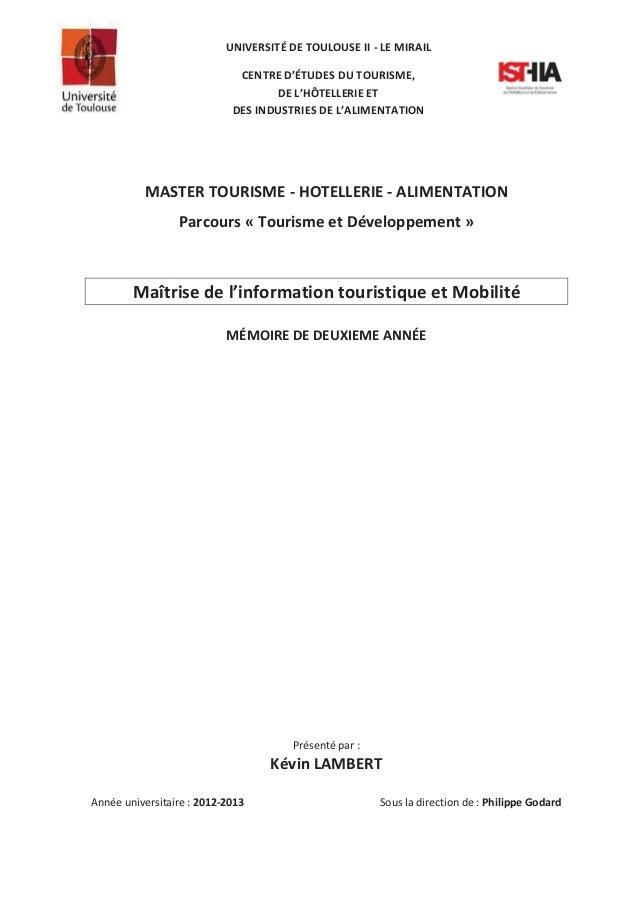 UNIVERSITÉ DE TOULOUSE II - LE MIRAIL CENTRE D'ÉTUDES DU TOURISME, DE L'HÔTELLERIE ET DES INDUSTRIES DE L'ALIMENTATION  MA...