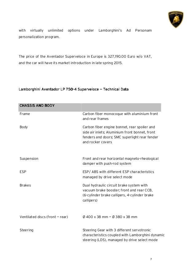 lamborghini aventador lp 750 4 superveloce press release. Black Bedroom Furniture Sets. Home Design Ideas