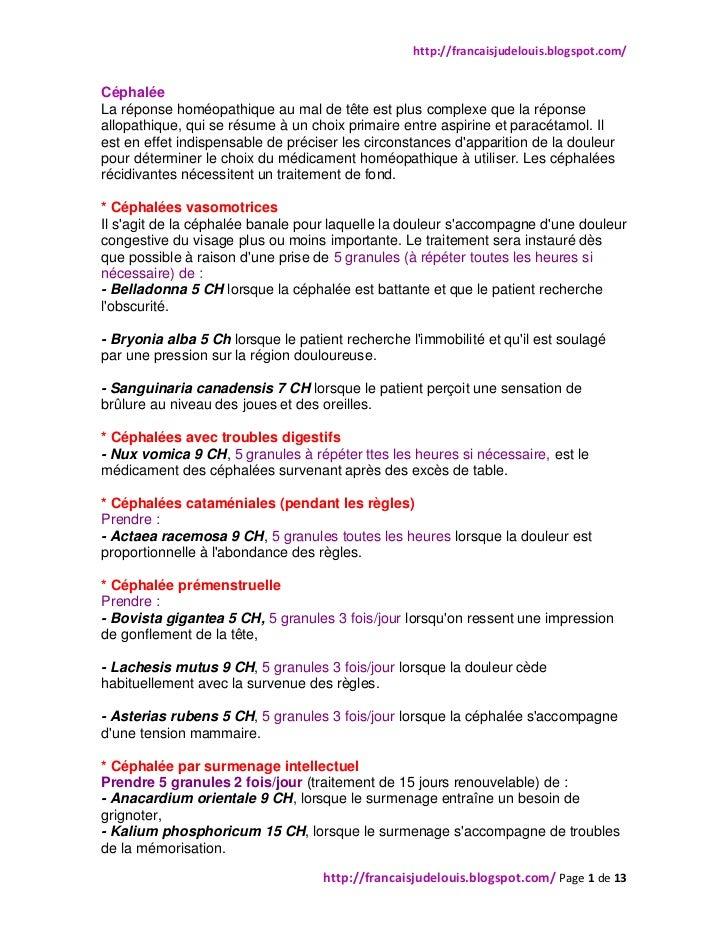 http://francaisjudelouis.blogspot.com/CéphaléeLa réponse homéopathique au mal de tête est plus complexe que la réponseallo...
