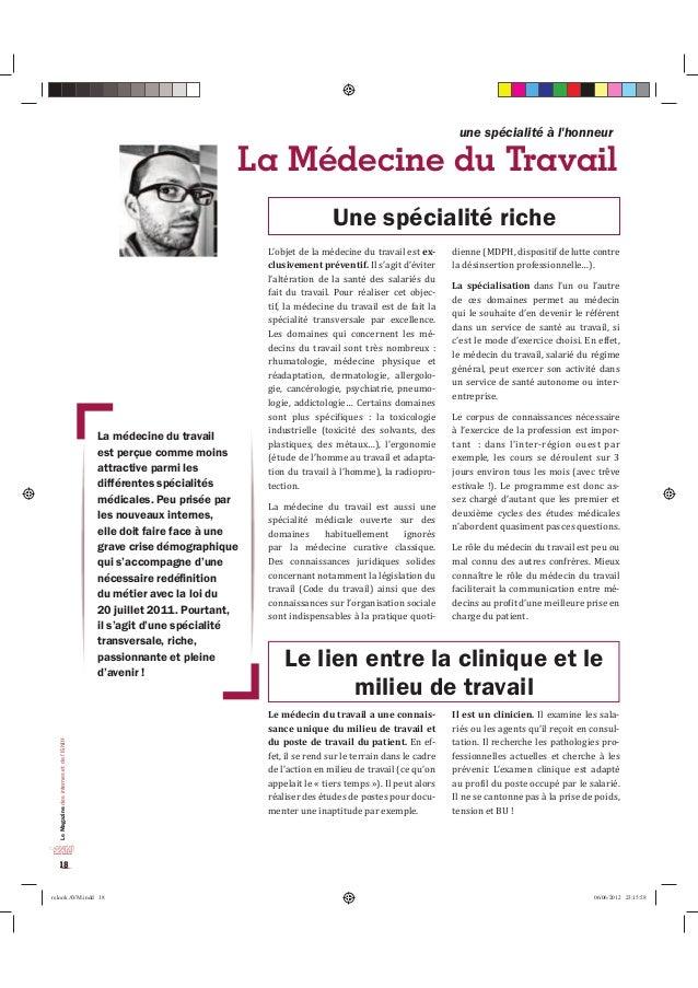 Le Magazine des internes et de l'ISNIH  18  une spécialité à l'honneur  La Médecine du Travail  /DPpGHFLQHGXWUDYDLO  HVWSH...