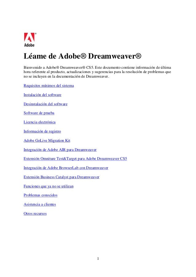Léame de Adobe® Dreamweaver® Bienvenido a Adobe® Dreamweaver® CS5. Este documento contiene información de última hora refe...
