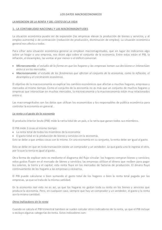 LOS DATOS MACROECONOMICOSLA MEDICION DE LA RENTA Y DEL COSTO DE LA VIDA1.- LA CONTABILIDAD NACIONAL Y LAS MACROMAGNITUDESL...
