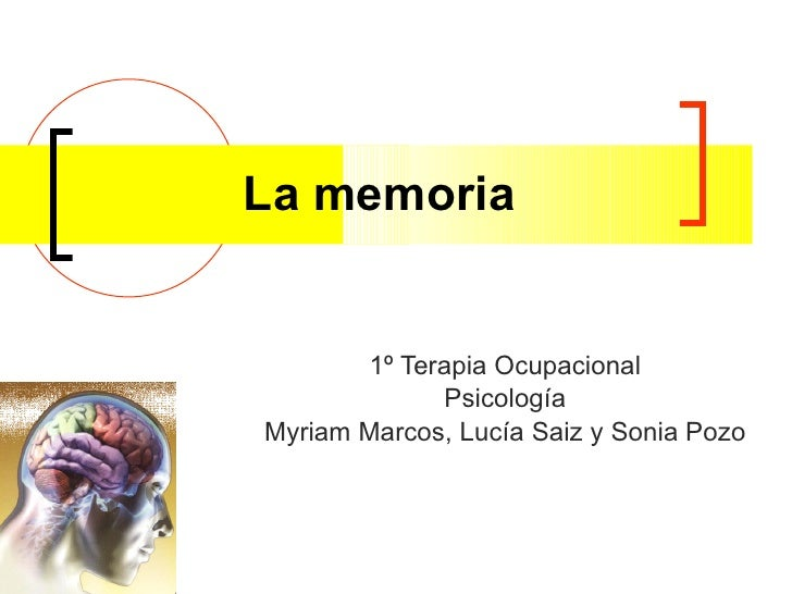 La memoria 1º Terapia Ocupacional Psicología Myriam Marcos, Lucía Saiz y Sonia Pozo