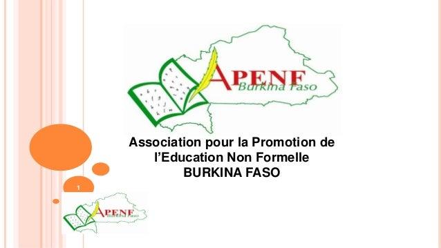 1 Association pour la Promotion de l'Education Non Formelle BURKINA FASO