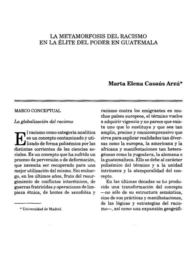 La metamorfosis del racismo en la élite del poder en guatemala