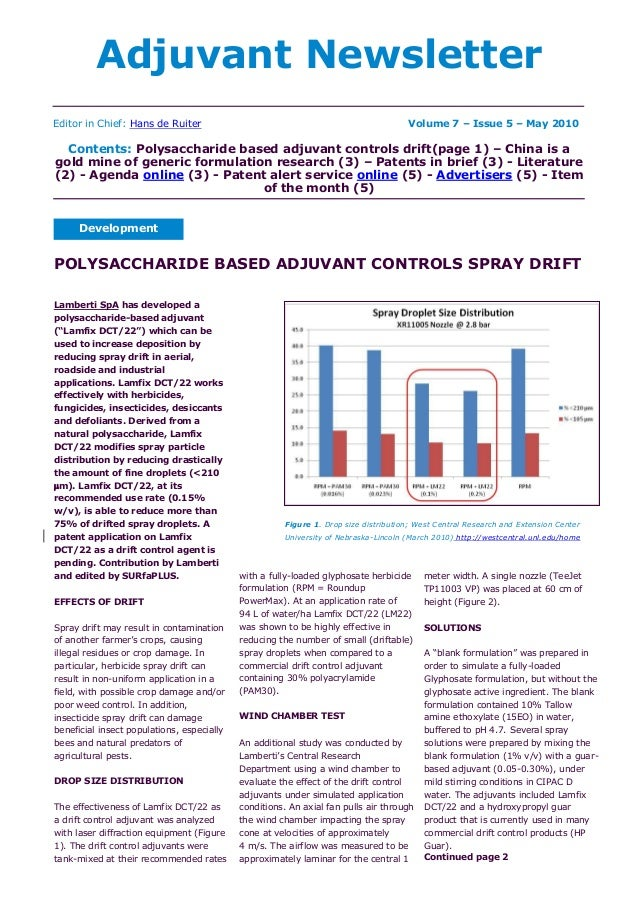 Adjuvant Newsletter Development Editor in Chief: Hans de Ruiter Volume 7 – Issue 5 – May 2010 Contents: Polysaccharide bas...