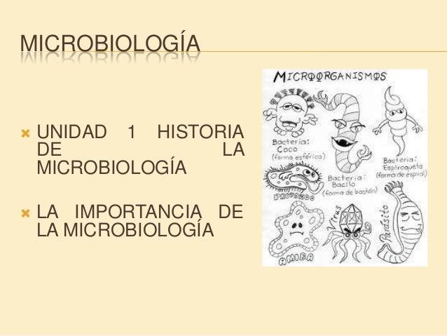 MICROBIOLOGÍA   UNIDAD 1 HISTORIA    DE             LA    MICROBIOLOGÍA   LA IMPORTANCIA DE    LA MICROBIOLOGÍA