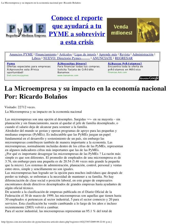 La Microempresa y su impacto en la economía nacional por: Ricardo Bolaños                                                 ...