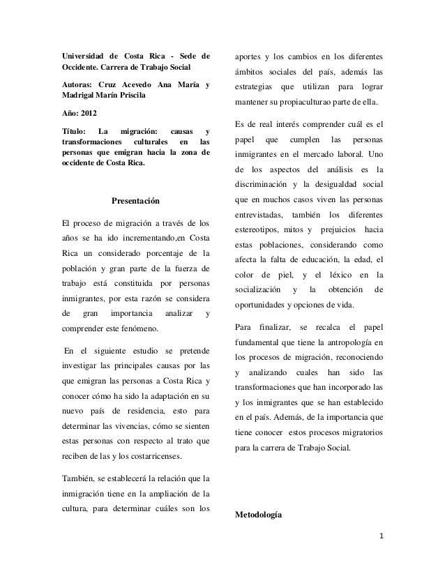 1 Universidad de Costa Rica - Sede de Occidente. Carrera de Trabajo Social Autoras: Cruz Acevedo Ana María y Madrigal Marí...