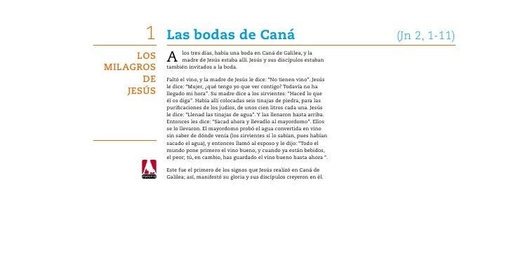 1 Las bodas de Caná (Jn 2, 1,11)LosMilagrosdeJesús; 2.