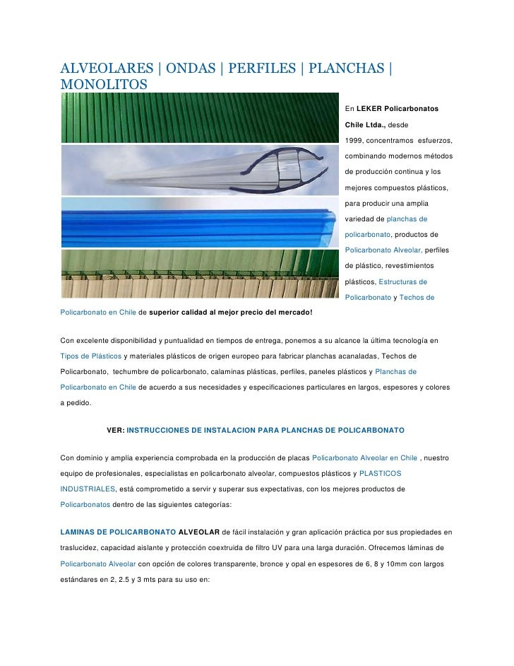 Laminas de policarbonato, caracteristicas