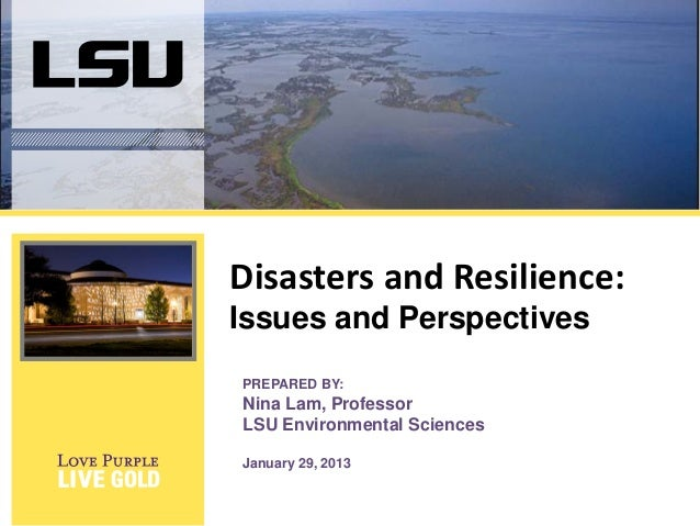Disasters and Resilience: Issues and Perspectives PREPARED BY:  Nina Lam, Professor LSU Environmental Sciences January 29,...