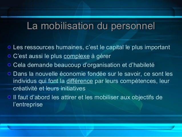 La mobilisation du personnelLes ressources humaines, c'est le capital le plus importantC'est aussi le plus complexe à gére...