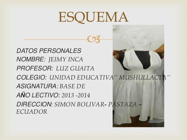 ESQUEMA  DATOS PERSONALES NOMBRE: JEIMY INCA PROFESOR: LUZ GUAITA COLEGIO: UNIDAD EDUCATIVA'' MUSHULLACTA'' ASIGNATURA: B...