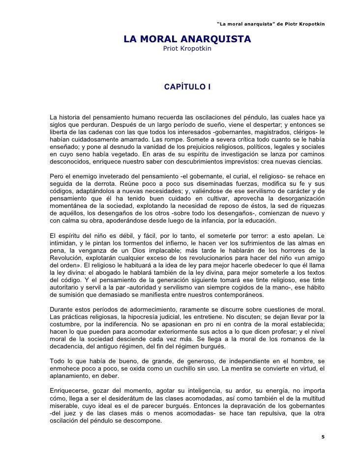 """""""La moral anarquista"""" de Piotr Kropotkin                              LA MORAL ANARQUISTA                                 ..."""