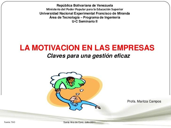 República Bolivariana de Venezuela<br />Ministerio del Poder Popular para la Educación SuperiorUniversidad Nacional Experi...