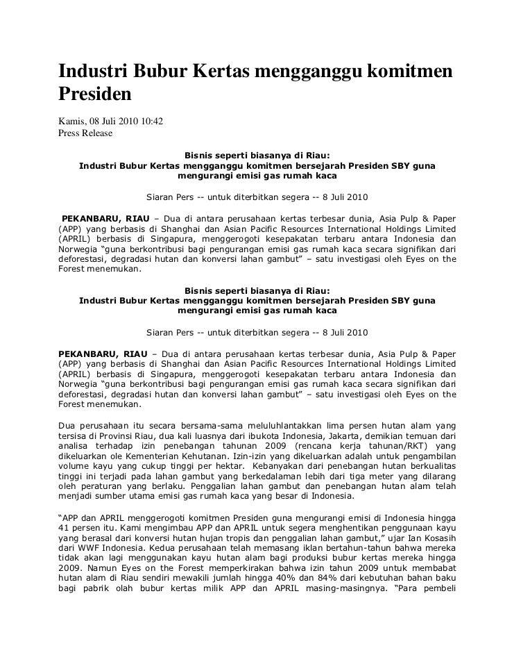 Lamp. 1 industri bubur kertas mengganggu komitmen presiden