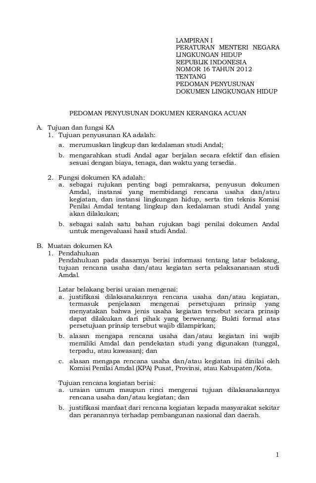 Lampiran I PerMen LH No 16 Tahun 2012 Pedoman Penyusunan Kerangka Acu ...