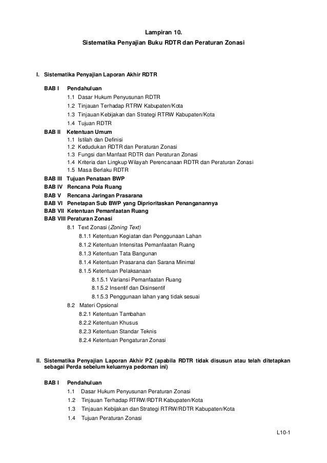Lampiran 10. Sistematika Penyajian Buku RDTR dan Peraturan Zonasi  I. Sistematika Penyajian Laporan Akhir RDTR BAB I  Pend...