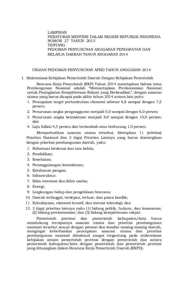 1LAMPIRANPERATURAN MENTERI DALAM NEGERI REPUBLIK INDONESIANOMOR 27 TAHUN 2013TENTANGPEDOMAN PENYUSUNAN ANGGARAN PENDAPATAN...