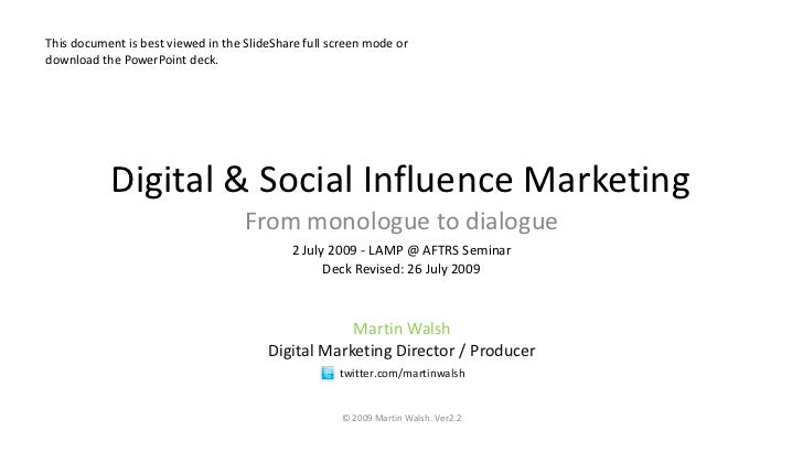 Monologue to Dialogue Social Media And Digital Marketing MWalsh