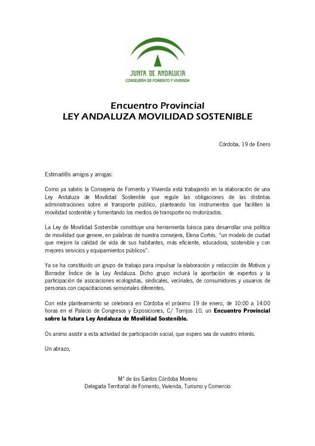 Encuentro Provincial       LEY ANDALUZA MOVILIDAD SOSTENIBLE                                                              ...