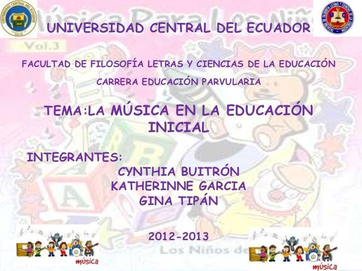 La música en la educación inicial