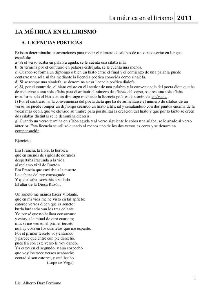 LA MÉTRICA EN EL LIRISMO<br />LICENCIAS POÉTICAS <br />Existen determinadas convenciones para medir el número de sílabas d...